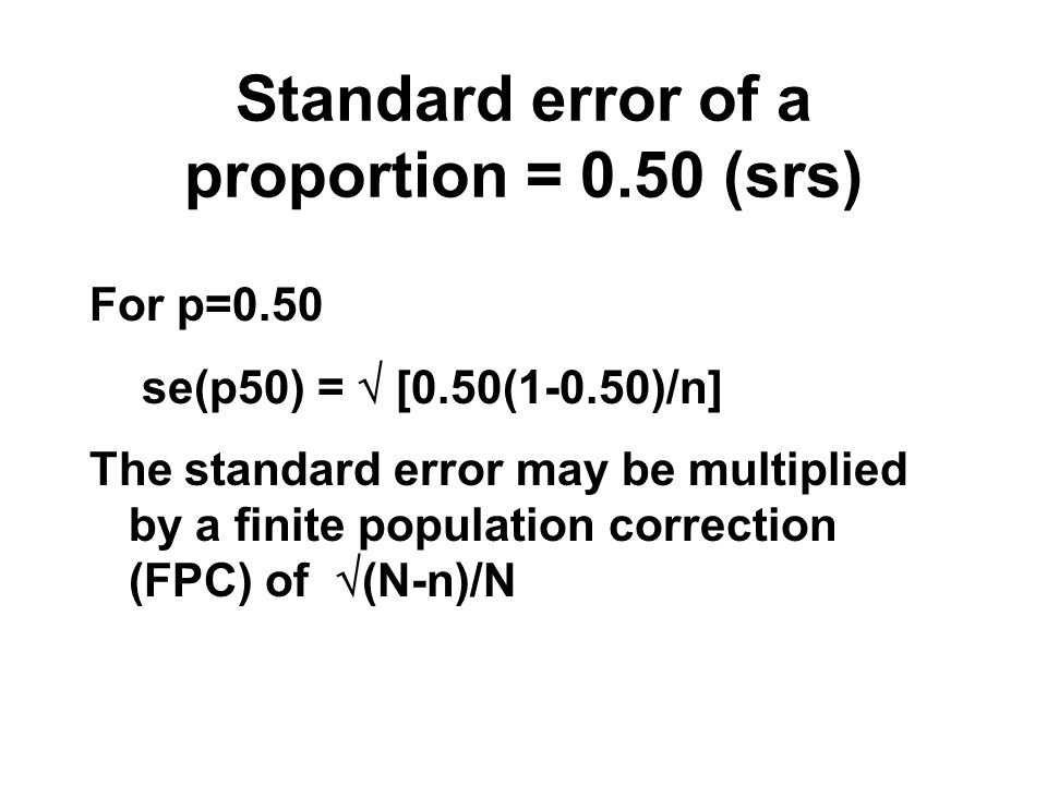Standard error of a proportion = 0.50 (srs)