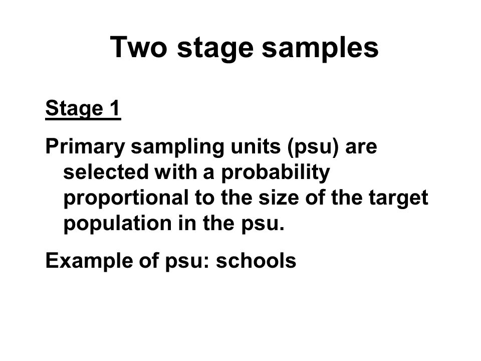 Two stage samples Stage 1