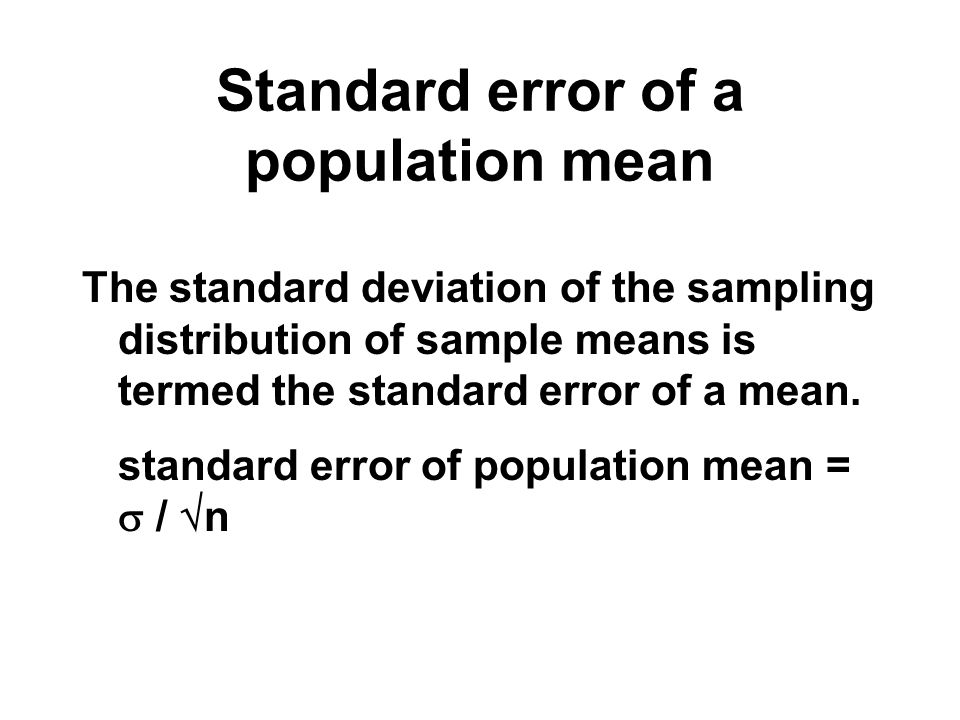 Standard error of a population mean