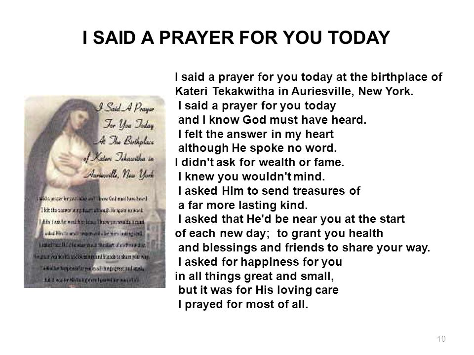 I SAID A PRAYER FOR YOU TODAY