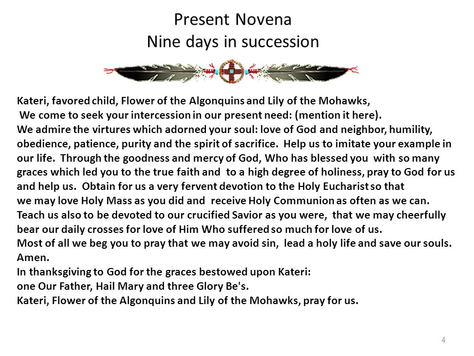 Present Novena Nine days in succession