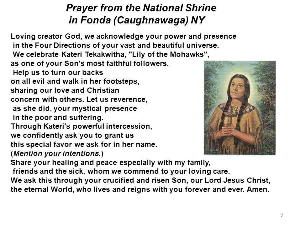 Prayer from the National Shrine in Fonda (Caughnawaga) NY