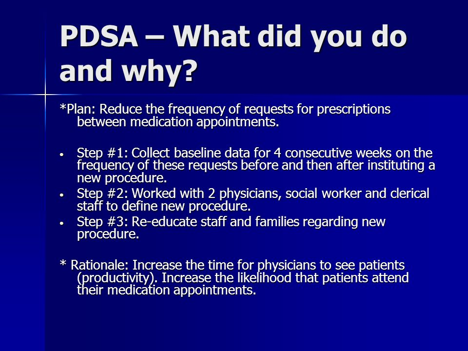 PDSA – What did you do and why
