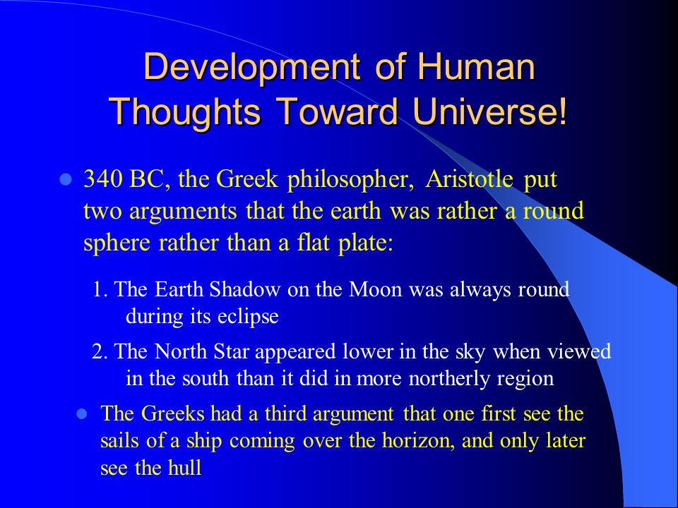 Development of Human Thoughts Toward Universe!