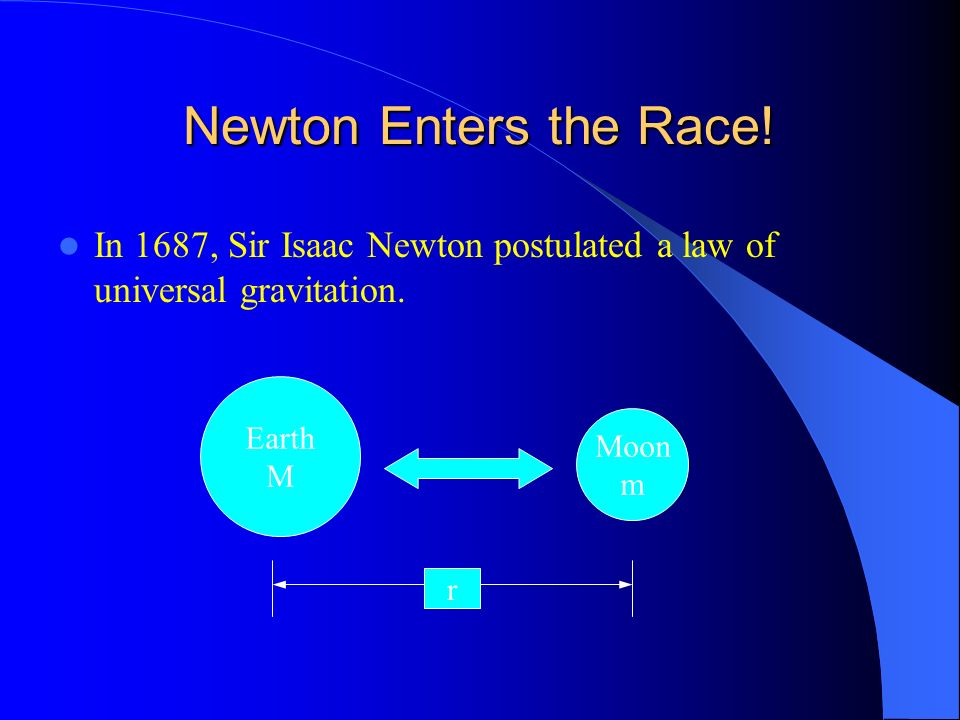 Newton Enters the Race! In 1687, Sir Isaac Newton postulated a law of universal gravitation. Earth.