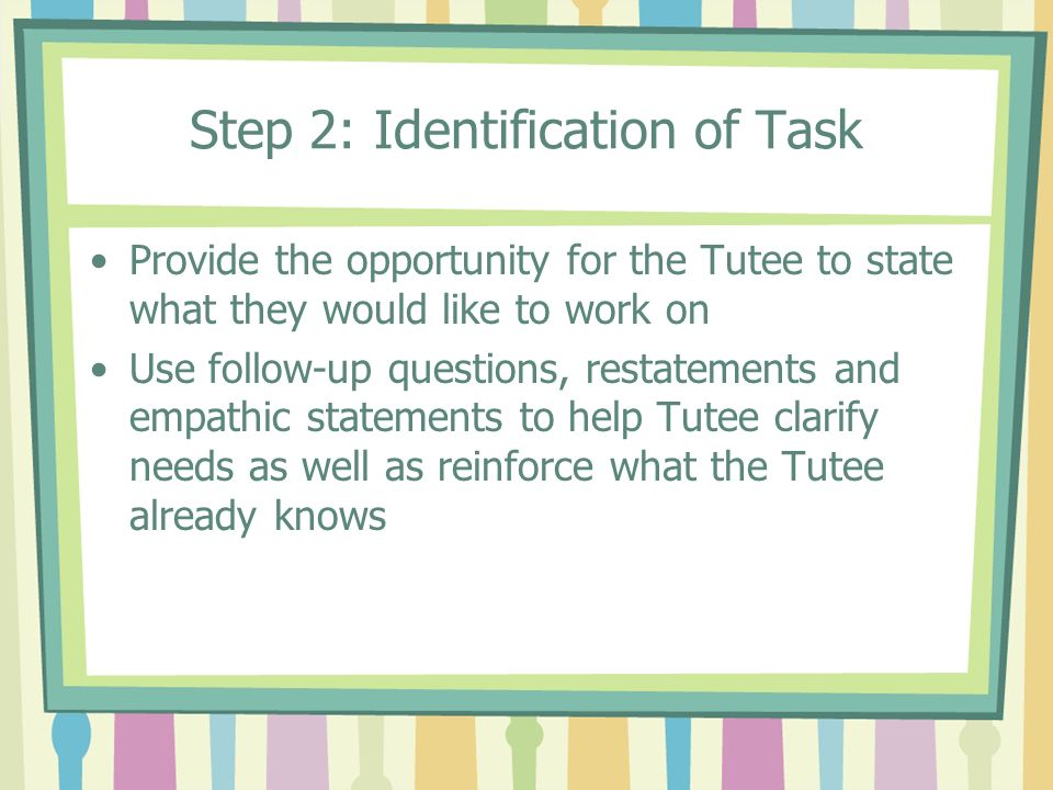 Step 2: Identification of Task