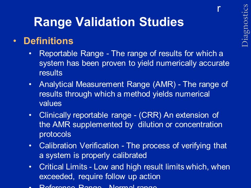 Range Validation Studies