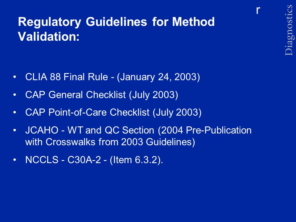 Regulatory Guidelines for Method Validation:
