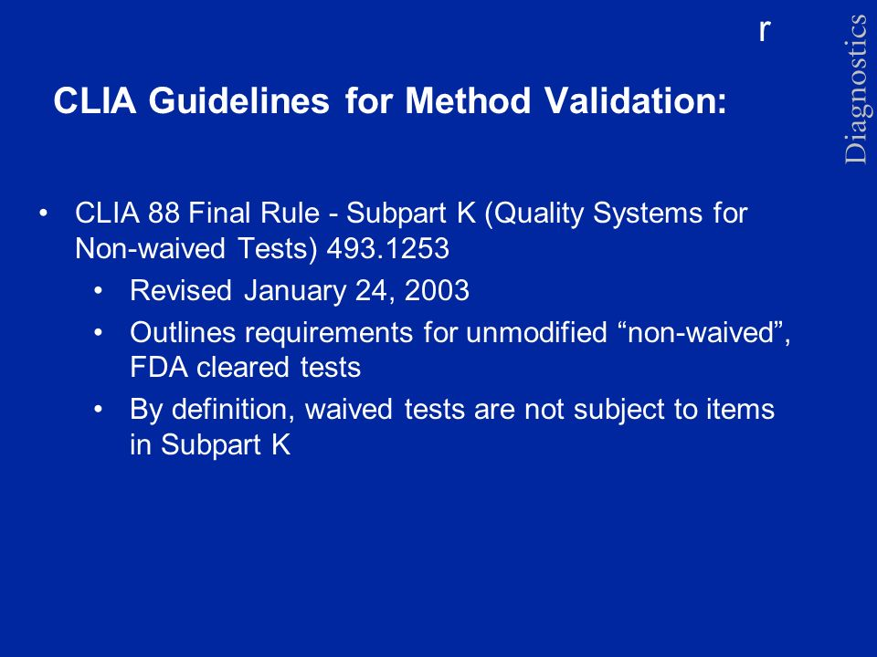 CLIA Guidelines for Method Validation: