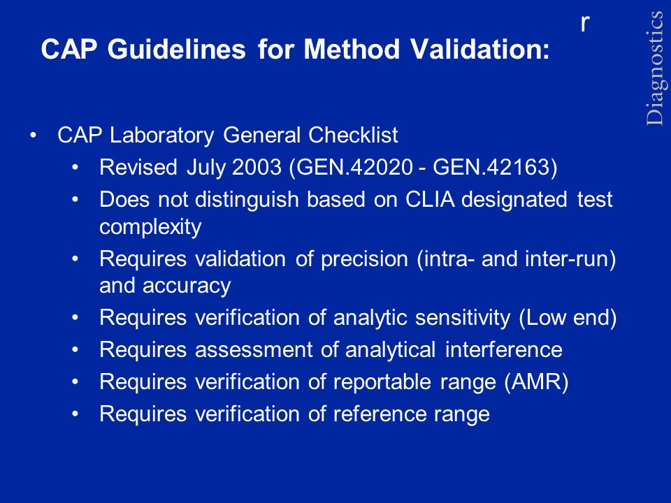 CAP Guidelines for Method Validation: