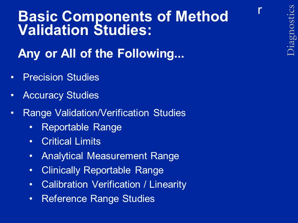 Basic Components of Method Validation Studies: Any or All of the Following...