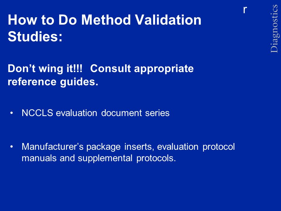 How to Do Method Validation Studies: Don't wing it