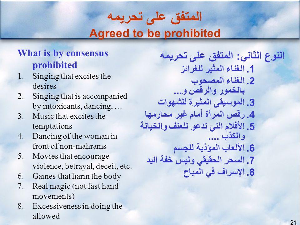 المتفق على تحريمه Agreed to be prohibited