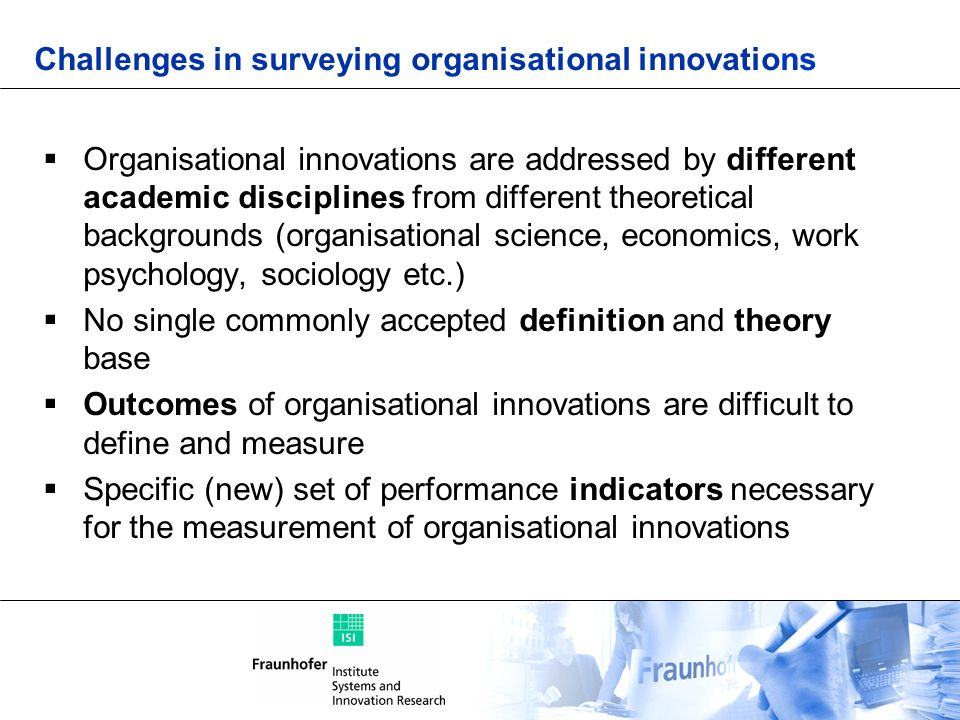 Challenges in surveying organisational innovations
