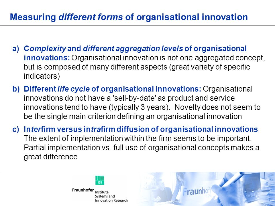 Measuring different forms of organisational innovation
