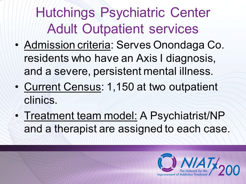 Hutchings Psychiatric Center Adult Outpatient services