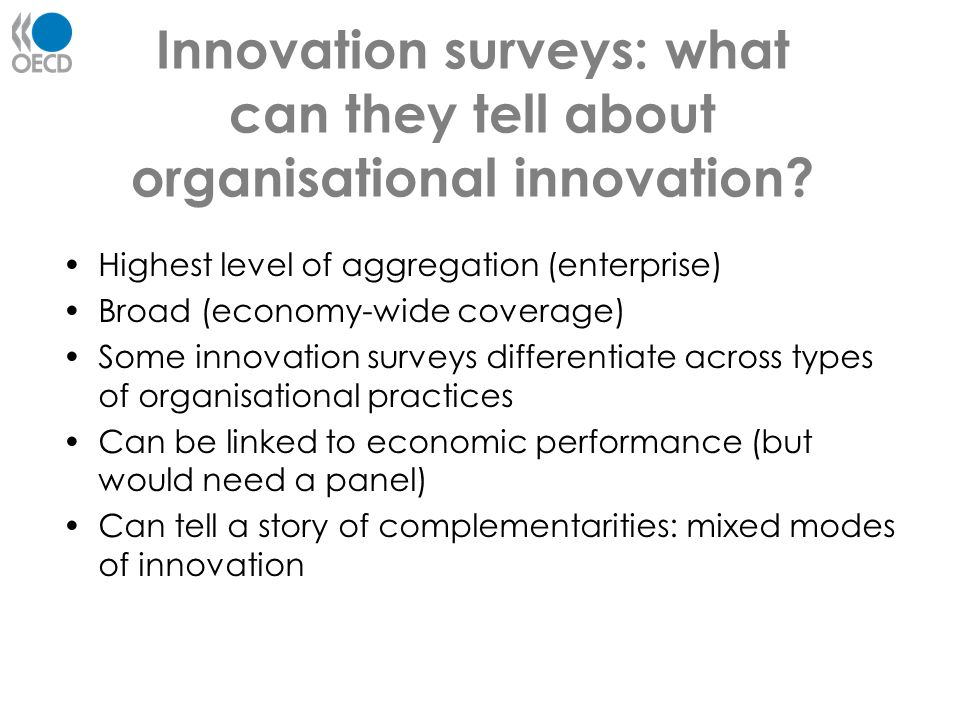Innovation surveys: what can they tell about organisational innovation