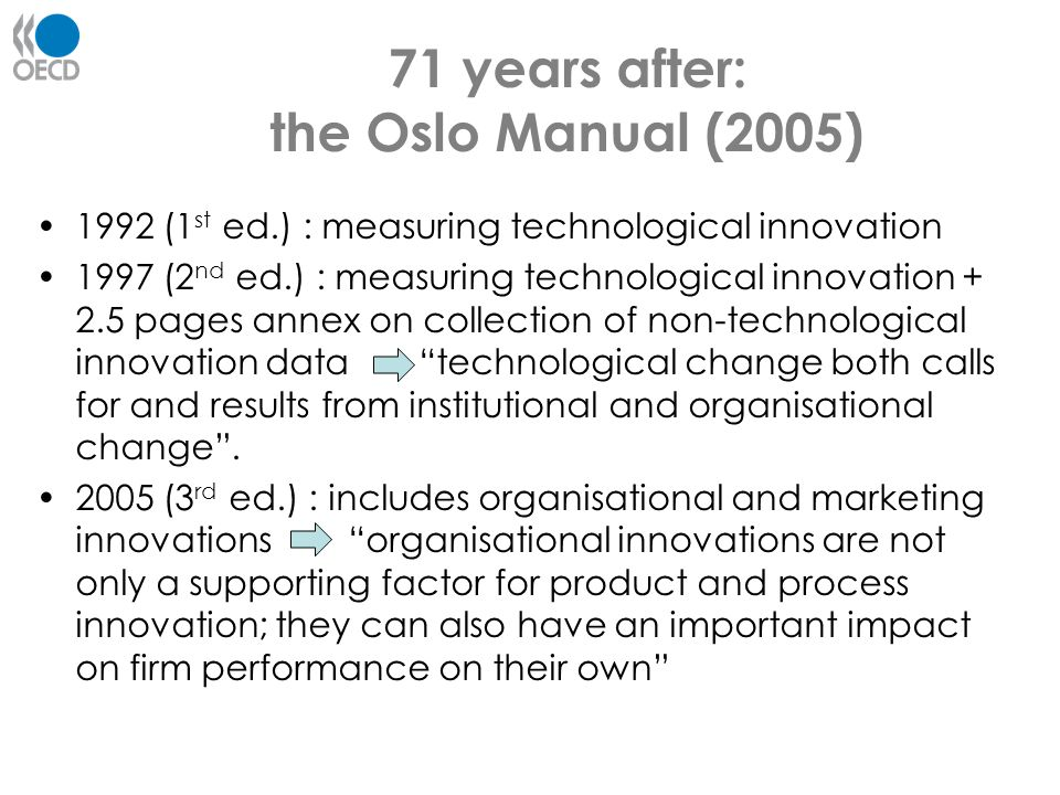 71 years after: the Oslo Manual (2005)
