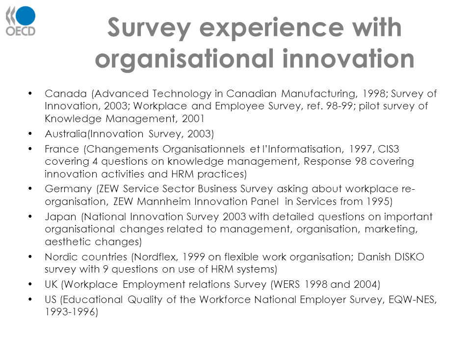 Survey experience with organisational innovation