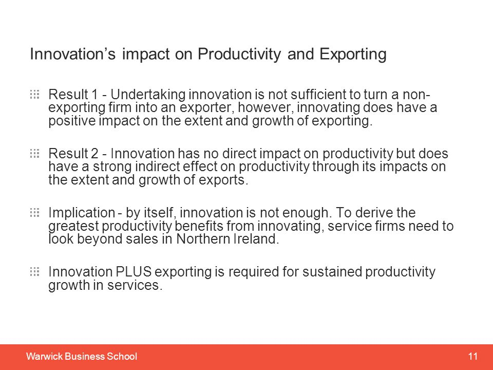 Innovation's impact on Productivity and Exporting