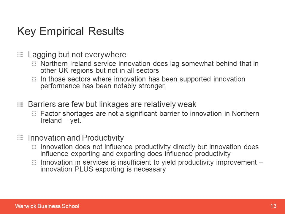 Key Empirical Results Lagging but not everywhere