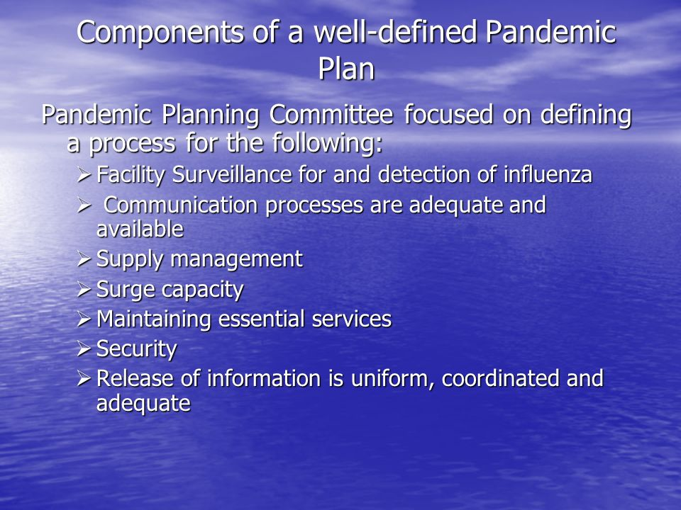 Components of a well-defined Pandemic Plan