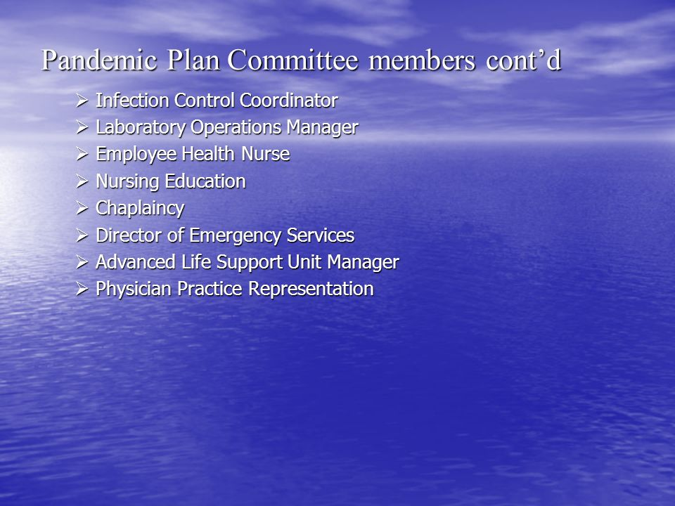 Pandemic Plan Committee members cont'd