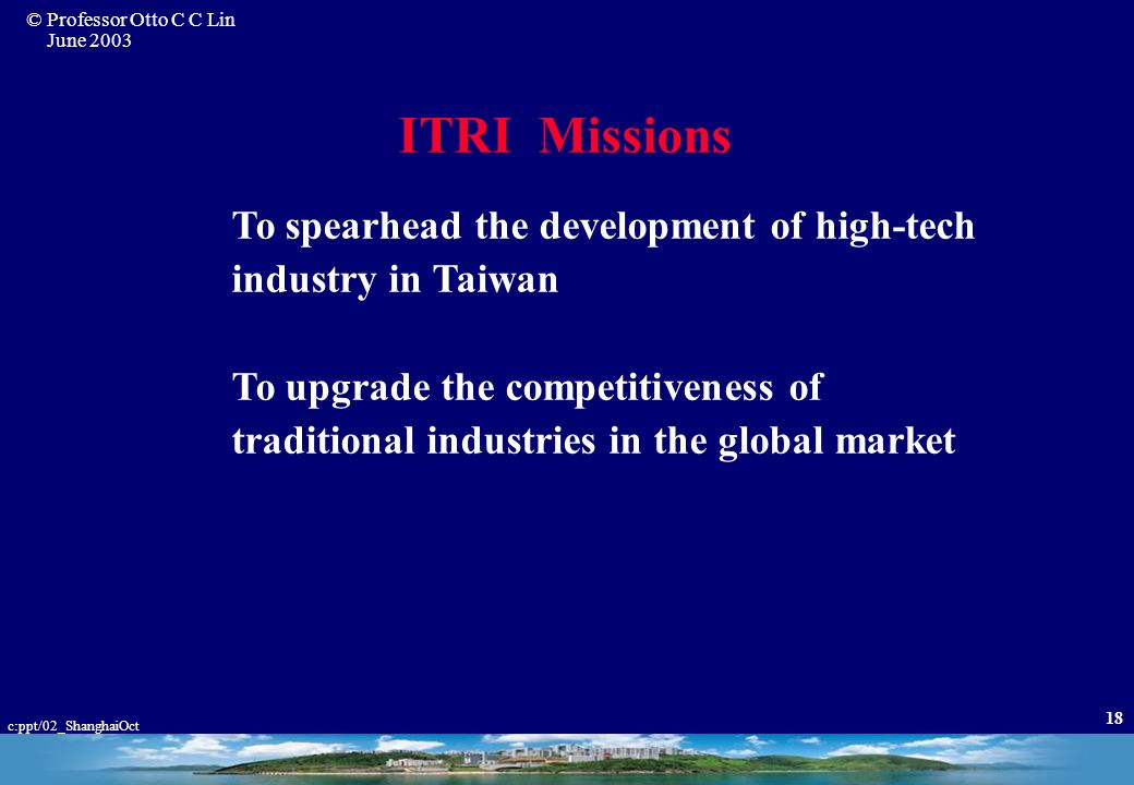 ITRI Missions To spearhead the development of high-tech industry in Taiwan.