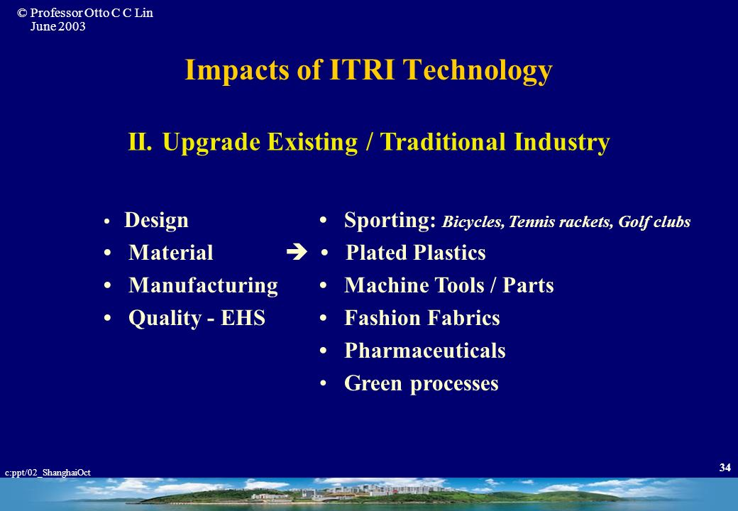Impacts of ITRI Technology