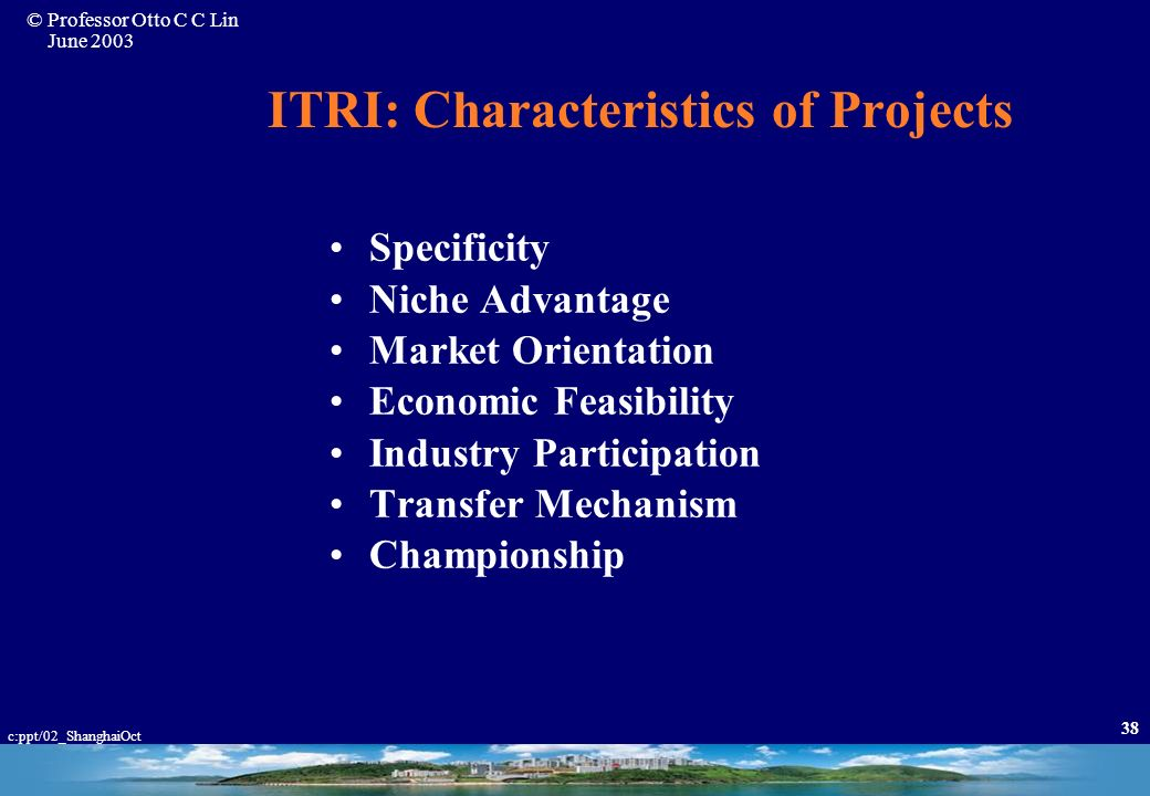 ITRI: Characteristics of Projects