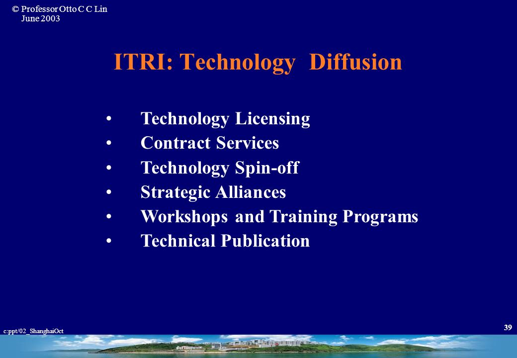 ITRI: Technology Diffusion