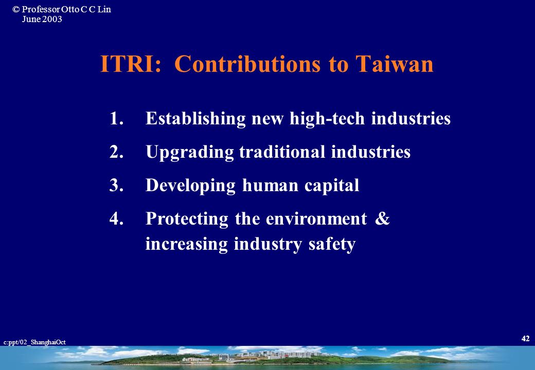 ITRI: Contributions to Taiwan