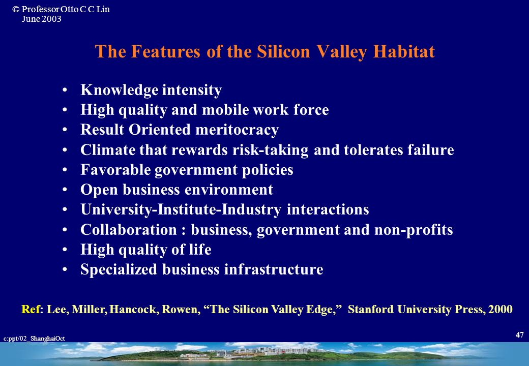 The Features of the Silicon Valley Habitat