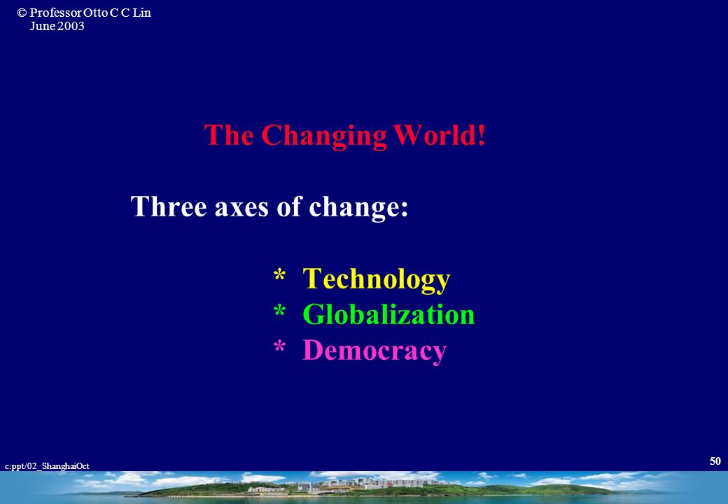 The Changing World. Three axes of change:. Technology. Globalization