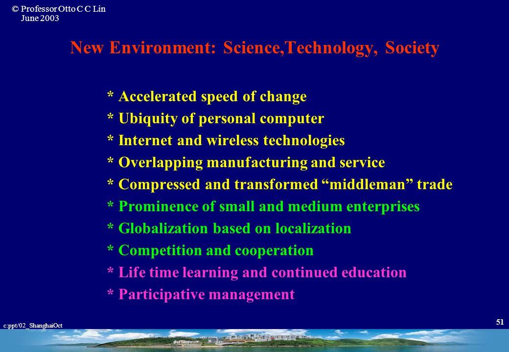 New Environment: Science,Technology, Society