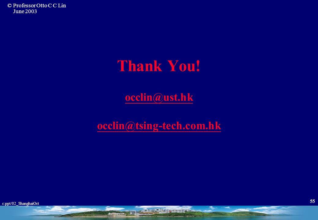 Thank You! occlin@ust.hk occlin@tsing-tech.com.hk