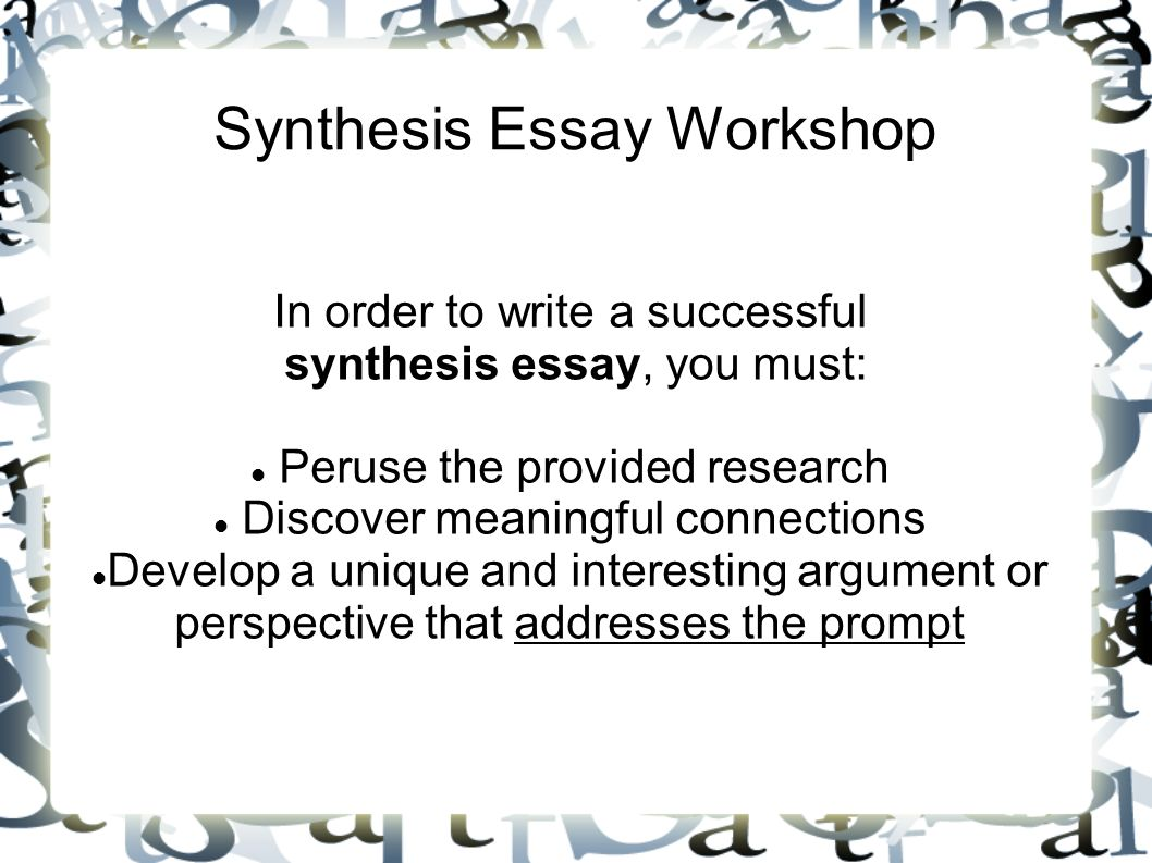 Essay On Health Synthesis Essay Workshop Is Psychology A Science Essay also Political Science Essay Synthesis Essay Workshop  Ppt Video Online Download Example Of An English Essay