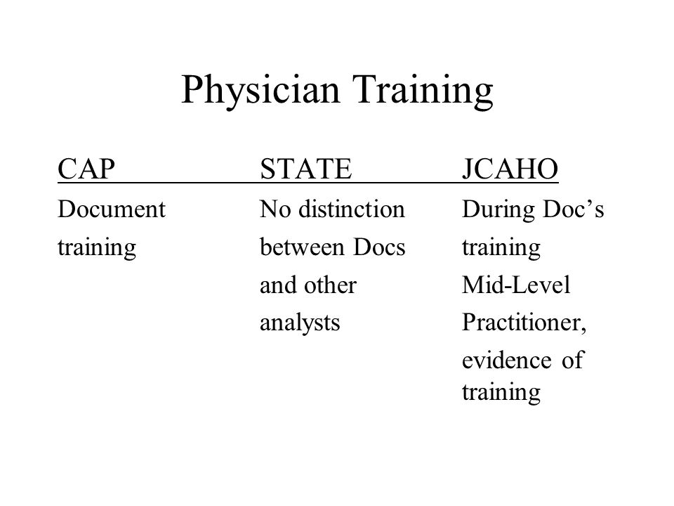 Physician Training CAP STATE JCAHO