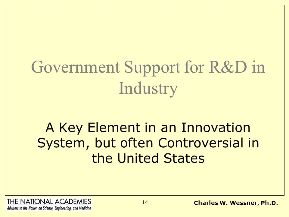 Government Support for R&D in Industry A Key Element in an Innovation System, but often Controversial in the United States