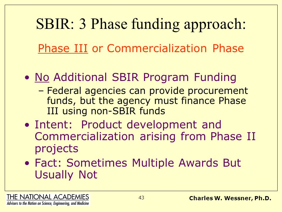 SBIR: 3 Phase funding approach: