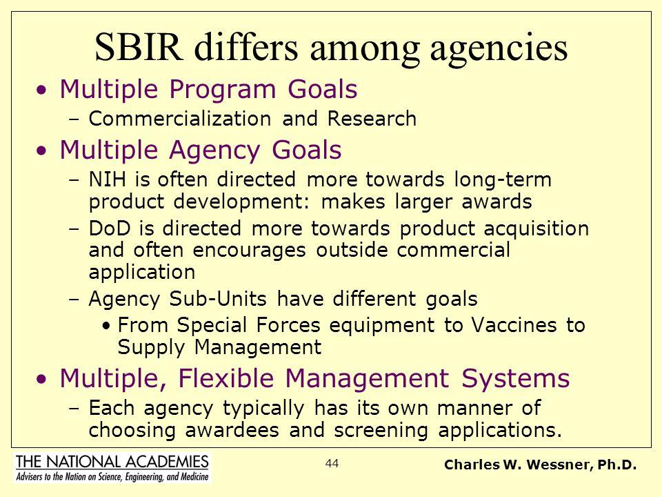 SBIR differs among agencies