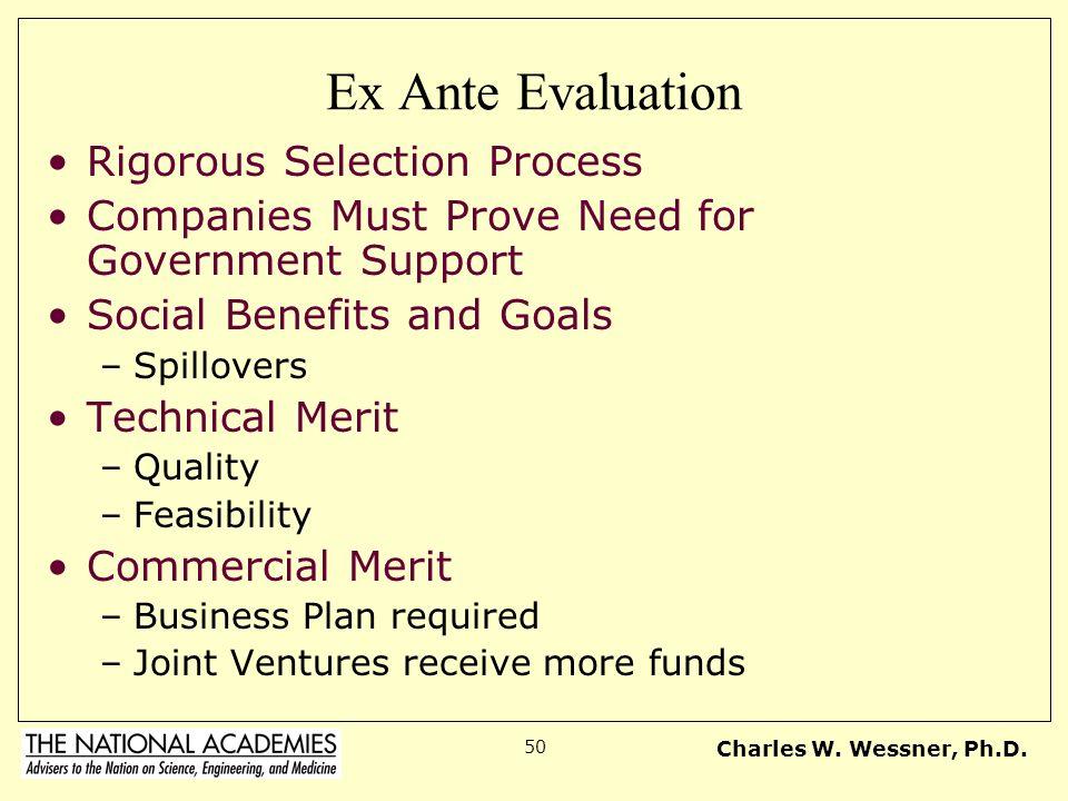 Ex Ante Evaluation Rigorous Selection Process