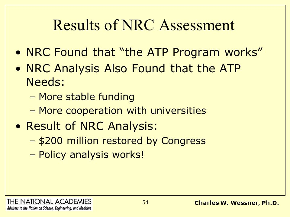 Results of NRC Assessment