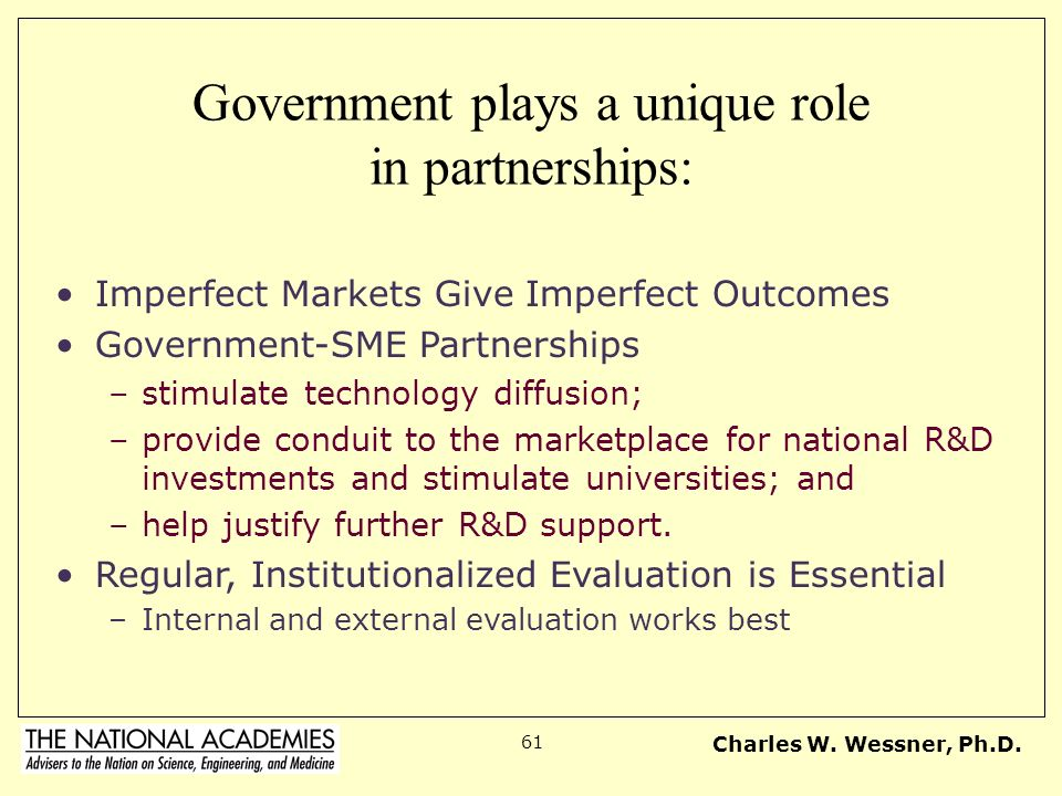 Government plays a unique role in partnerships: