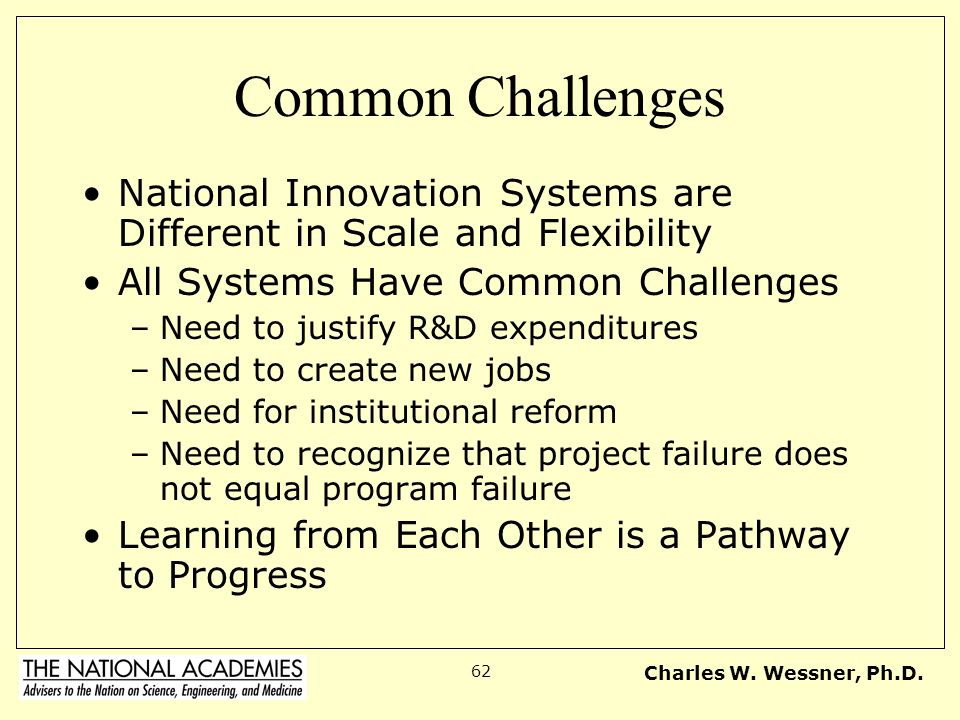 Common Challenges National Innovation Systems are Different in Scale and Flexibility. All Systems Have Common Challenges.