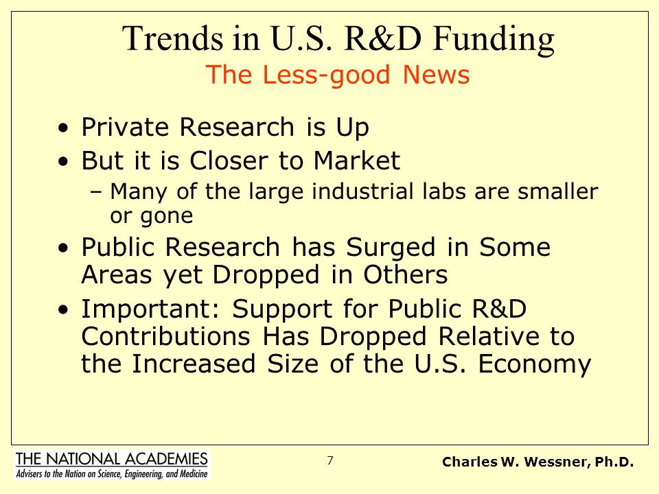 Trends in U.S. R&D Funding The Less-good News