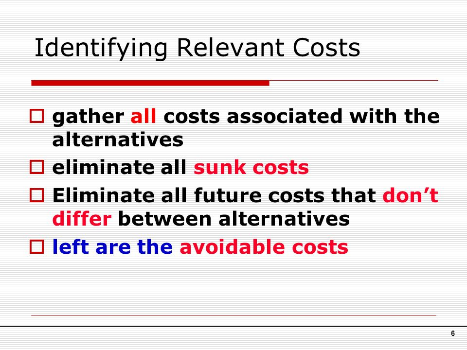 Costs associated with alternatives
