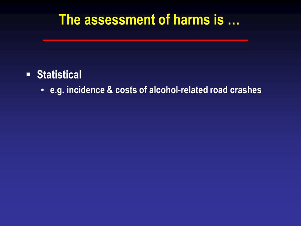 The assessment of harms is …