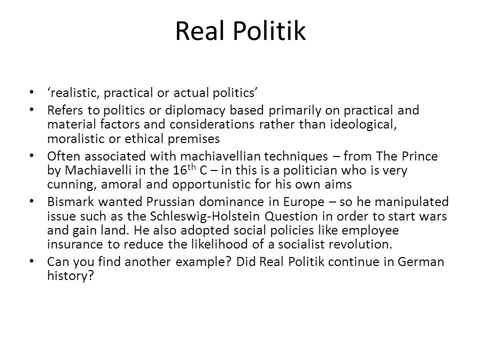 bismarck machiavellian poltician A collection of comments and observations about politicians, the  and machiavellian immorality that no decent person  bismarck someone once noted.