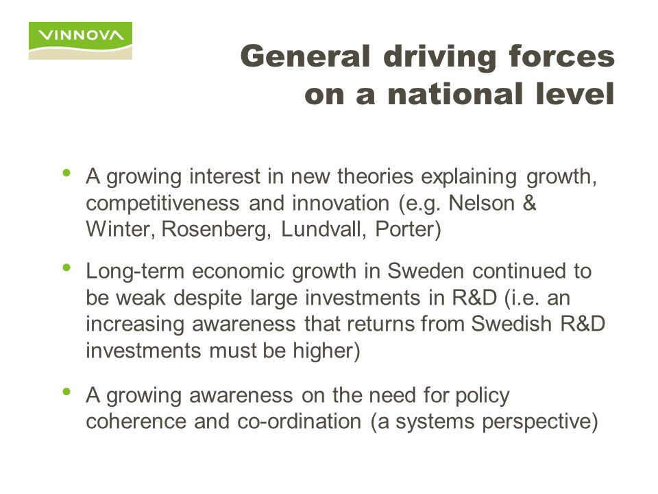 General driving forces on a national level